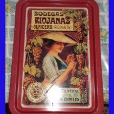 Carteles: ANTIGUA BANDEJA DE METAL PROPAGANDA BODEGAS RIOJANAS CENICERO MIDE 49,5/34,5 CM. . Lote 91209235