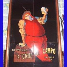 Carteles - GRAN CARTEL PROPAGANDA CERVEZA LA CRUZ DEL CAMPO EN CERÁMICA Mide 65/45 cm. CRUZCAMPO - 91212545