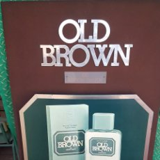 Carteles: RECLAMO OLD BROWN MADERA Y TEXTIL. Lote 91586129
