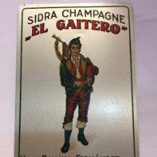 Carteles: TARJETA CHAPA SIDRA CHAMPAGNE EL GAITERO AÑOS 30. Lote 92994145