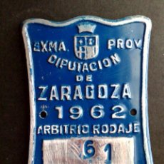 Carteles: CHAPA MATRICULA ARBITRIO RODAJE DE REMOLQUE,AÑO 1962 DE ZARAGOZA (7CMS. X 5CMS.) DESCRIPCIÓN. Lote 94043870