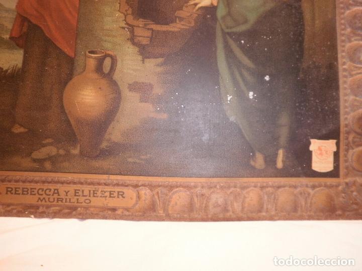 Carteles: LAMINA DE METAL.REPRESENTA REBECA Y ELIEZER DE MURILLO. OBSEQUIO DE AÑO NUEVO-1924-.CARTELES Y ENVA - Foto 2 - 95300207