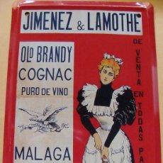Cartazes: CARTEL METÁLICO. BRANDY JIMENEZ LAMOTHE. 25/40. LOS ANUNCIOS DE TU VIDA. MÁLAGA. 1900 - 1960.. Lote 96190859