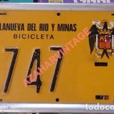 Carteles: VILLANUEVA DEL RIO Y MINAS, SEVILLA, ANTIGUA MATRICULA DE BICICLETA, MAGNIFICA, 150X95MM. Lote 97563763