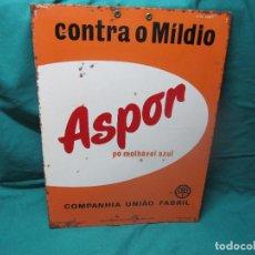 Carteles: ANTIGUA PLACA CHAPA PROPANGA ASPOR PO MOLHAVEL AZUL DE LISBOA. Lote 97832796