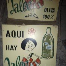 Carteles: CHAPA METALICA PUBLICITARIA DE ACEITE JALEO DE ALICANTE. Lote 140042052