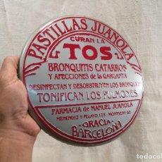 Carteles: CHAPA PUBLICIDAD METALICA PASTILLAS JUANOLA ORIGINAL AÑOS 90 BARCELONA DIAMETRO 23 CMS. . Lote 101591483