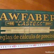 Carteles: PLACA CHAPA METAL PUBLICITARIA PUBLICIDAD FABER CASTELL REGLA DE CALCULO SLIDE RULE RECHENSCHIEBER. Lote 101603207