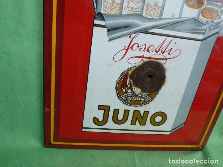 Carteles: RARA PLACA ESMALTADA TABACO JUNO JOSETTI ANTIGUA CHAPA CARTEL PUBLICITARIO AÑOS 30-40 ALEMANIA - Foto 3 - 103025343