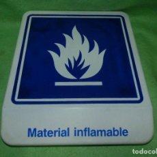 Carteles - Curioso cartel Material inflamable VIDRIO grueso y pesado señal peligro VINTAGE años 80 - 103241459