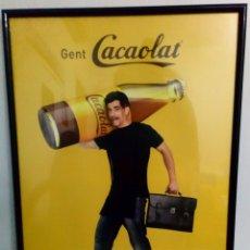Carteles: CARTEL ENMARCADO EN MADERA CON PUBLICIDAD DE CACAOLAT MIDE 41 CMS X 31CMS . Lote 103711115