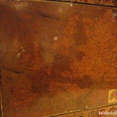 Carteles: ANTIGUO MAPA EUROPA LITOGRAFIADO SOBRE CHAPA, PUBLICIDAD CREMA CALZADO Y METALES SERVUS Y KAOL, 1931. Lote 103733443