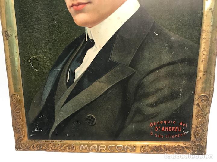 Carteles: CHAPA LITOGRAFIADA PUBLICITARIA DR. ANDREU, HOMBRES CELEBRES MARCONI. ORIGINAL. - Foto 3 - 104965871