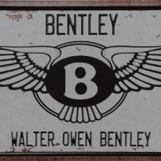 Carteles: CHAPA PLACA BENTLEY AUTOMOBIL CHAPA DECORATIVA METAL REPRO VINTAGE 30X15 CTMS. Lote 152579618