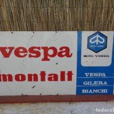 Carteles: CARTEL GIGANTE DE CHAPA DE HIERRO ESMALTADA DE MOTO VESPA MONTALT- A UNA CARA - 1 METRO X 51 CM. Lote 137815497