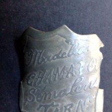 Carteles: CHAPA ANTIGUA MATRICULA DE BICICLETA,MADELEINE CHAMAYON-SÉMALENS DE TARN (4,5CMS.X 3,5CMS.). Lote 86657790