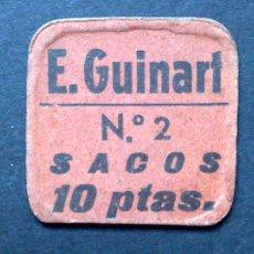 Carteles: CHAPA ANTIGUA Nº2,SACOS 10 PTAS..,MERCADO DE E.GUINART,BARCELONA (3,5X3,5CMS.). Lote 109145983