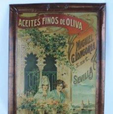 Carteles: CHAPA LITOGRAFIADA DE PUBLICIDAD, EL GUADALQUIVIR, ACEITES FINOS DE OLIVA, MIGUEL G. LONGORIA, SEVIL. Lote 109335259