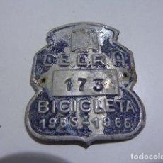 Carteles: CHAPA MATRICULA DE BICICLETA DE CELRA ( GIRONA) DE 1965-1966. Lote 110421955