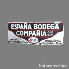 Carteles: UNICA !! CHAPA ESMALTADA DE BODEGA COMPANIA EN ESPANOL Y ALEMAN. (120 X 60 CM) 1920 - 1925. Lote 111609151
