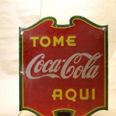 Carteles: BANDEROLA CHAPA COCA-COLA ESMALTADA DOBLE CARA, CUBANA. ORIGINAL DE 1930S. CODICIADA.. Lote 112025035