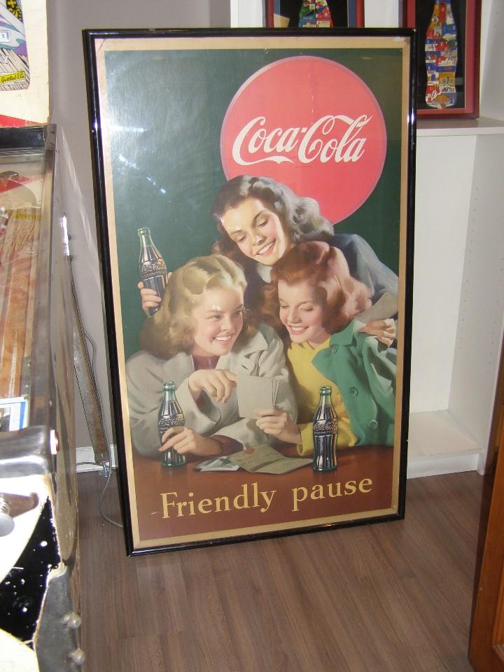 Carteles: Impresionante Cartel Coca-Cola original de 1948 (Friendly Pause). USA - Foto 2 - 112025427