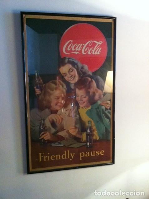 Carteles: Impresionante Cartel Coca-Cola original de 1948 (Friendly Pause). USA - Foto 3 - 112025427