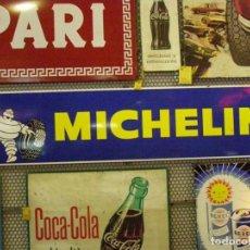 Carteles: GRAN CHAPA ESMALTADA MICHELÍN BIBENDUM. MEDIDAS 195X47CMS. MADE IN FRANCE. ORIGINAL DEL AÑO 1975.. Lote 112025835