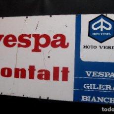 Carteles: GRAN CARTEL METAL ORIGINAL MITICO MOTO VESPA MONTALT VALENCIA CASA DECORACION TALLER VESPINO. Lote 112727855