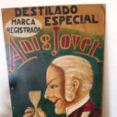 Carteles: FLOR DE ANIS. JOSE JOVER LLOPIS, BAÑERES, ALICANTE, ANTIGUO CARTEL PUBLICITARIO PINTADO A MANO. ÚNIC. Lote 113067371