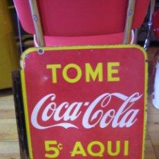 Carteles: CHAPA COCA-COLA ESMALTADA (HECHA EN USA). BANDEROLA DOBLE CARA. ORIGINAL AÑOS 1930-40S.. Lote 113393939