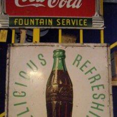 Carteles: DIFÍCIL CHAPA COCA-COLA DRINK COCA-COLA DELICIOUS & REFRESHING. USA ORIGINAL DE 1950S. Lote 113395643