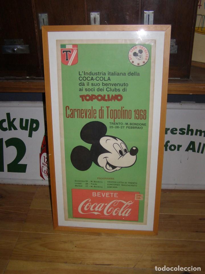 CARTEL COCA-COLA Y MICKEY MOUSSE. DISNEY. CARNAVALE DI TOPOLINO. ORIGINAL DE 1968. MUY RARO. (Coleccionismo - Carteles y Chapas Esmaltadas y Litografiadas)