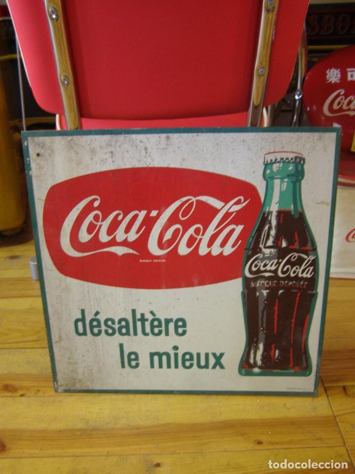 Carteles: Banderola Chapa Coca-Cola francesa doble cara. Désaltère la mieux. Original de 1950s. Buscada. - Foto 2 - 113523147