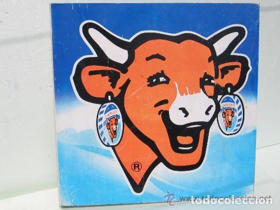 Carteles: Chapa Metal Publicidad La Vaca que Ríe. Queso. Banderola a doble cara. Original. Francia. - Foto 5 - 113621791