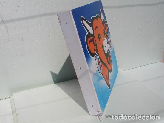 Carteles: Chapa Metal Publicidad La Vaca que Ríe. Queso. Banderola a doble cara. Original. Francia. - Foto 6 - 113621791