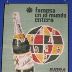 Carteles: CARTEL SIDRA EL GAITERO. ENMARCADO. ORIGINAL DE 1965. Lote 113985791