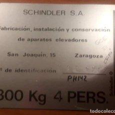 Carteles: CHAPA ASCENSOR SCHINDLER, METÁLICA. Lote 114769827