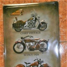 Carteles: CHAPA PLACA METAL MOTOS MOTEROS 20 X 30 DECORATIVA REPRO.PLACA EN RELIEVE. Lote 177864425