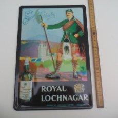 Carteles: CARTEL ROTULO DE MAETAL ROYAL-LOCHNAGAR-WHISKY-EMBOSSED-METAL-PUB SIGN. CHAPA PUBLICIDAD . Lote 115076575