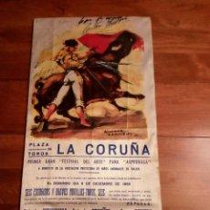 Carteles: CARTEL TAURINO EN SEDA AÑO 1965.FIRMADO POR ANTONIO BIENVENIDA,ANTONIO ORDOÑEZ Y CURRO ROMERO.. Lote 115539051