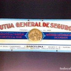 Carteles: CHAPA PUBLICITARIA ANTIGUA,LITOGRAFIADA DE LA MUTUA GENERAL DE SEGUROS,BARCELONA (45CM. X 16,5CM.). Lote 115547579
