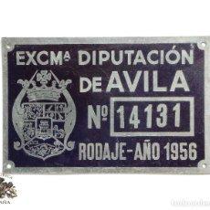 Carteles: PLACA (CHAPA) DE CARRO - TASAS DE RODAJE - 1956 - ÁVILA. Lote 116101315