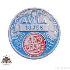 Carteles: PLACA (CHAPA) DE CARRO - ARBITRIO - TASAS DE RODAJE - 1954 - ÁVILA. Lote 116101811
