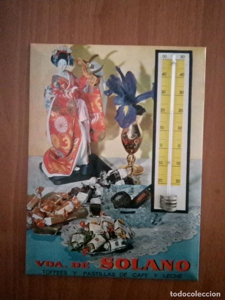 TERMOMETRO PARED VDA.DE SOLANO TOFFEES Y PASTILLAS DE CAFE Y LECHE 1964 (Coleccionismo - Carteles y Chapas Esmaltadas y Litografiadas)