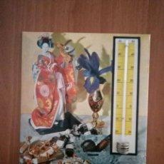 Carteles: TERMOMETRO PARED VDA.DE SOLANO TOFFEES Y PASTILLAS DE CAFE Y LECHE 1964. Lote 116619623