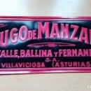 Carteles: CARTEL ANTIGUO JUGO DE MANZANA VALLE, BALLINA Y FERNAN DE PLASTICO DE 34 CMS. DE LARGO X 15 DE ALTO . Lote 116704879