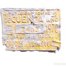 Carteles: PLACA CHAPA DE CARROS.- DIPUTACIÓN PROVINCIAL DE CUENCA. Lote 117653183