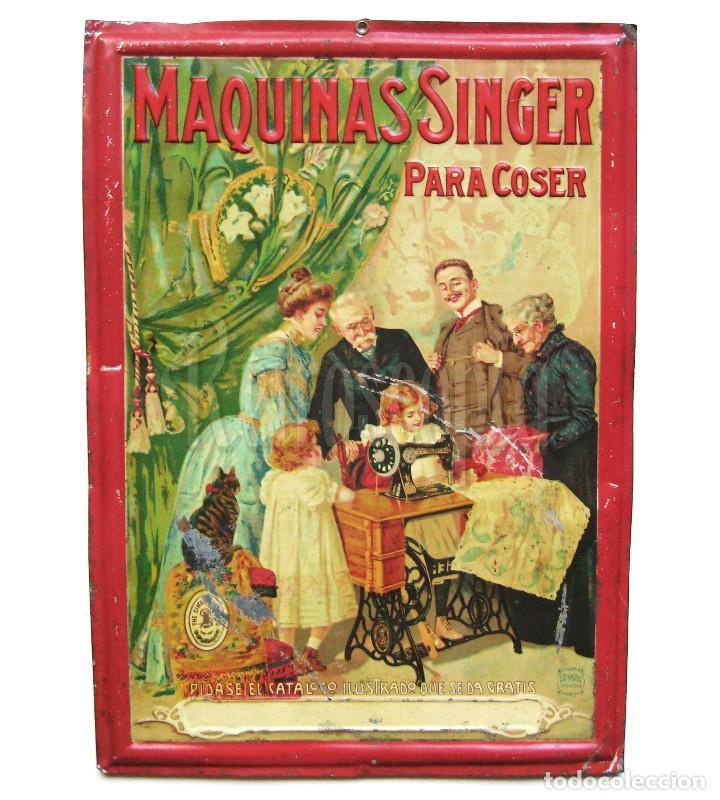 CHAPA PLACA CARTEL EN RELIEVE PUBLICIDAD MAQUINAS DE COSER SINGER. G. DE ANDREIS. AÑOS 20 - 30 (Coleccionismo - Carteles y Chapas Esmaltadas y Litografiadas)