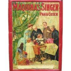 Plakate - CHAPA PLACA CARTEL EN RELIEVE PUBLICIDAD MAQUINAS DE COSER SINGER. G. DE ANDREIS. AÑOS 20 - 30 - 117777115